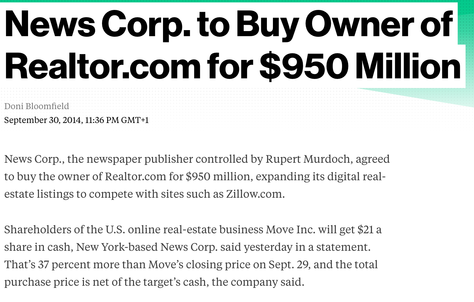 News Corp. to Buy Owner of Realtor.com for $950 Million
